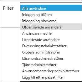 Välj olicensierade användare på listan Filter.