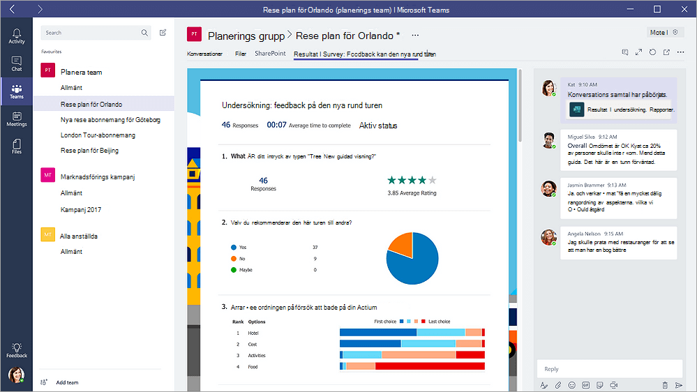 """Formulär-fliken i Microsoft Teams som visar ett formulär i """"resultat"""" läge"""