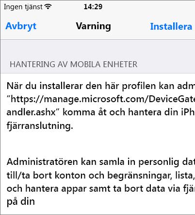 Installera profilvarning för iPhone