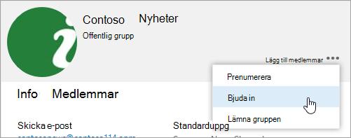 En skärm bild av knappen Bjud in andra på grupp kortet.