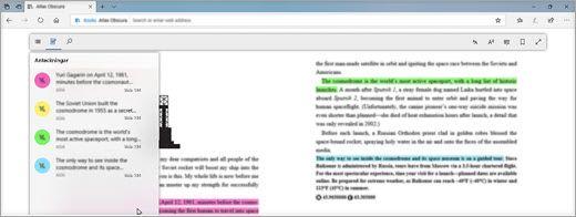 Läsa en digital lärobok i Microsoft Edge