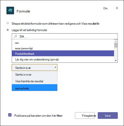 Lägga till ett befintligt gruppformulär i Microsoft Teams