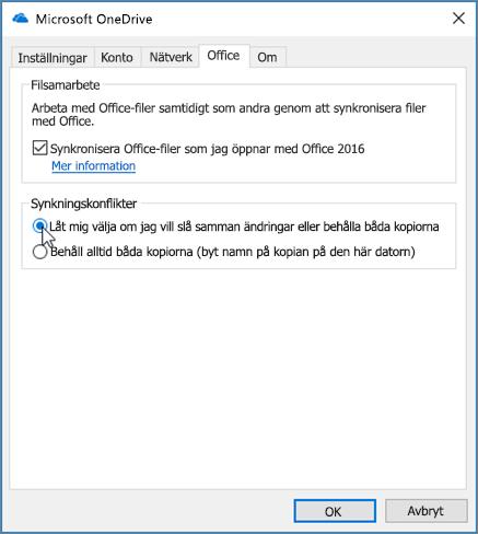 Office-fliken i dialogrutan Inställningar för synkronisering