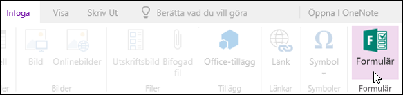Alternativet Infoga formulär i OneNote Online