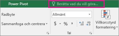 Rutan Berätta i menyfliksområdet i Excel 2016