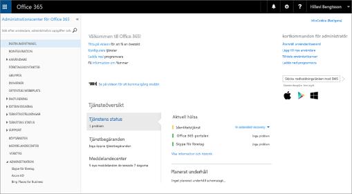 Ett exempel på hur administrationscentret för Office 365 ser ut med ett abonnemang på Skype för företag – online.