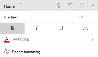 Teckensnitt-menyn i PowerPoint för Android.