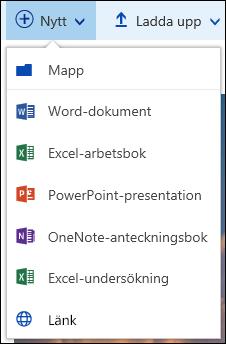 Skapa en ny fil i ett dokumentbibliotek i Office 365