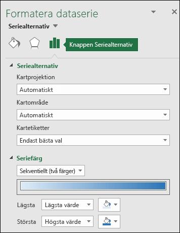 Seriealternativ för åtgärdsfönstret Formatera objekt för kartdiagram i Excel