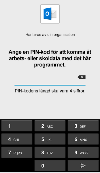 Ange PIN-kod för Outlook-app i Android
