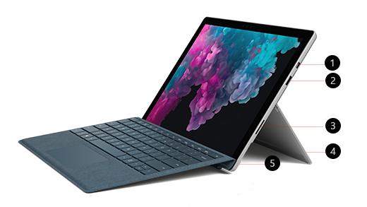 Bild på Surface Pro 6 vinklad till sidan med 5 funktioner som indikeras med siffra