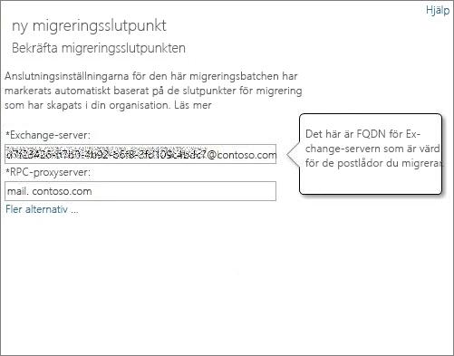 Bekräftad anslutning för slutpunkt för Outlook överallt.