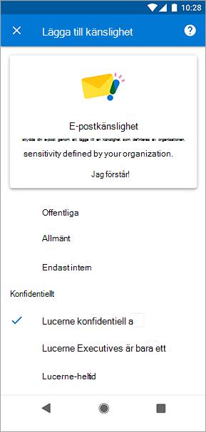 Skärmbild av känslighetsetiketter i Outlook för Android