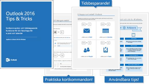 Försättsblad för Tips och trick för Outlook 2016, sidor som visar några tips