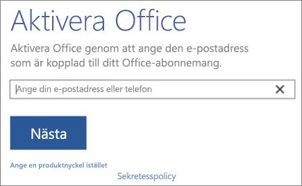 Visar fönstret Aktivera Office