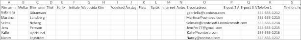 Så här ser en CSV-exempelfil ut med viss kontaktinformation.