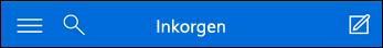 Övre navigeringsfältet för miniversionen av Outlook Web App