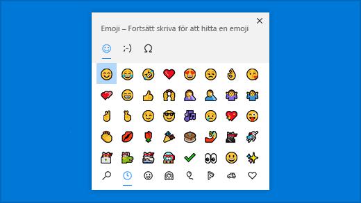 Genväg till emojipanelen