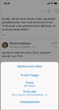 E-posttråd med markering som olästa, ta bort flagga och andra alternativ