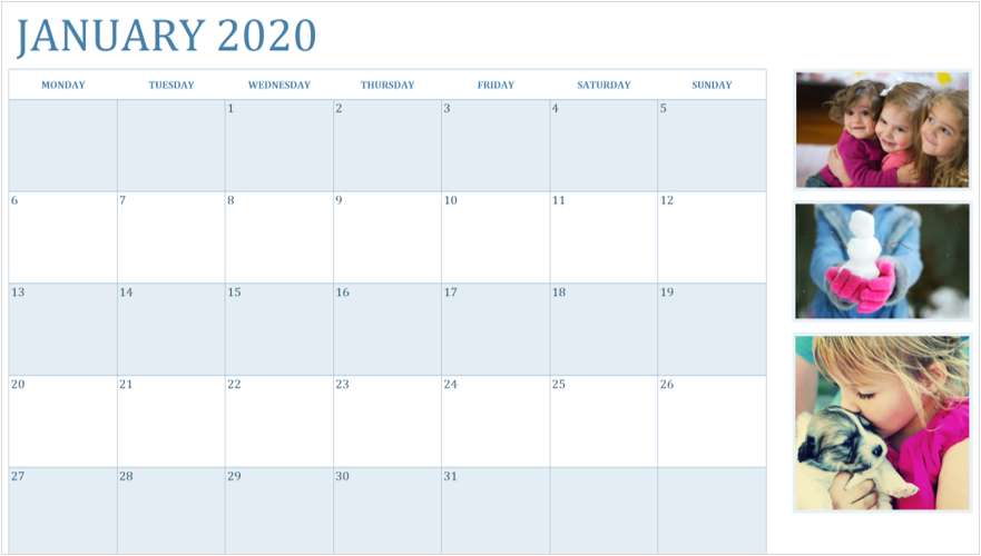 Bild av en januari 2020-kalender med foton
