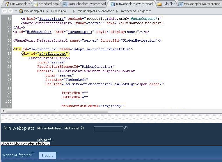Använda DIV-taggar när du anpassar huvudsidan för Min webbplats