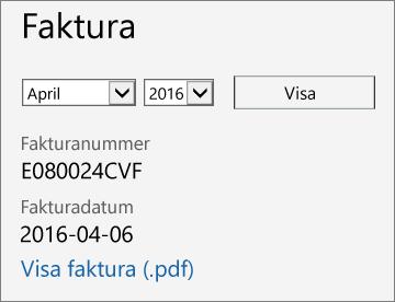 Skärmbild som visar fakturasektionen på sidan Fakturainformation i administrationscentret för Office 365.