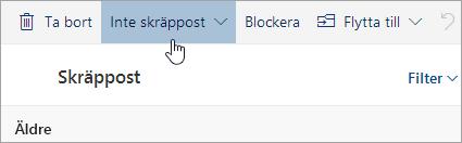 En skärmbild av knappen Inte skräppost