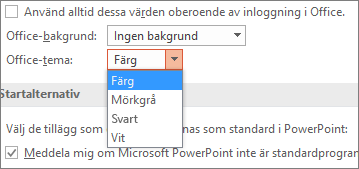 Visar alternativ för Office-tema i PowerPoint 2016