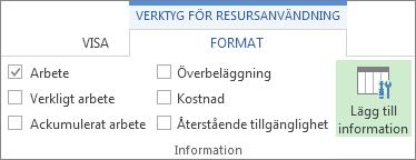 Fliken Format för verktyg för resursanvändning, knappen Lägg till information