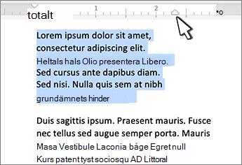 Markör för höger indrag i Mac