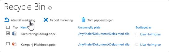 Återställ eller ta bort objekt från Papperskorgen.