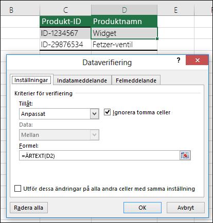 Exempel 2: Formler för dataverifiering