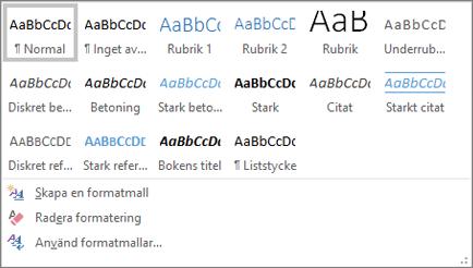 Listrutan Format i Word i Office 365