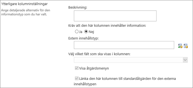 Alternativ för extern datakolumn