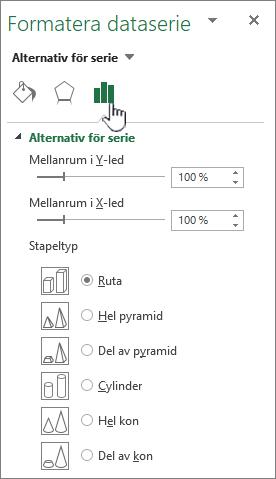 Inställning av dataserie mellanrummet djup och bredd egenskaper