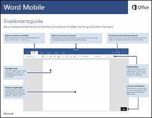 Snabbstartsguide för Word Mobile