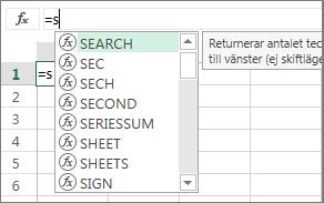 Listan Komplettera automatiskt för formel