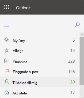 Skärm bild av vänster navigerings fält för uppgifter för Outlook för webben med tilldelat till mig efter flaggat e-postmeddelande