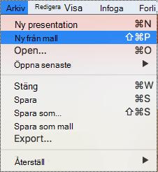 Sidan mallar i PowerPoint för Mac