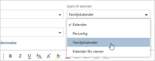 En skärmbild av listan Spara i listrutan kalender