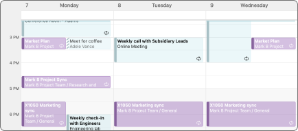 3-dagars kalendervy.