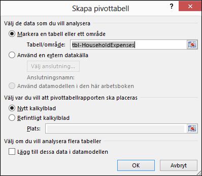 Dialogrutan Skapa pivottabell i Excel