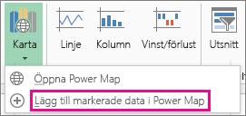 Lägg till markerade data i Power Map-kommando