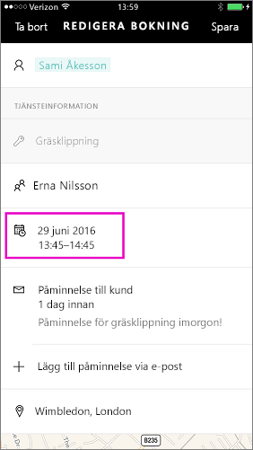 Tryck på datum och tid för att ändra det.