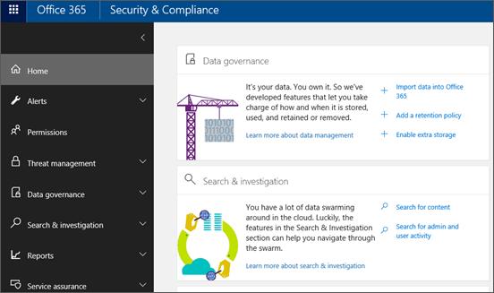 Startsidan för Säkerhets- och efterlevnadscenter för Office 365
