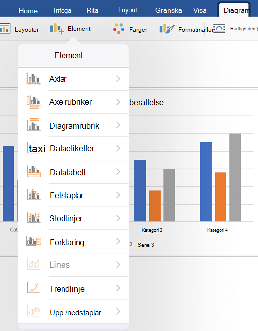 Klicka på element på fliken schema i menyfliksområdet för att anpassa diagramelement i dokumentet