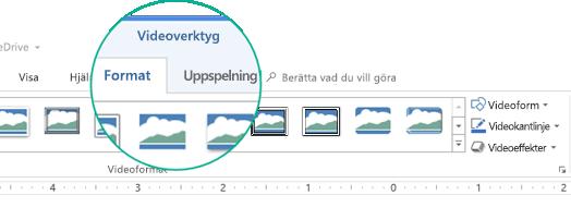 """När en video markeras i en bild visas avsnittet """"Videoverktyg"""" i menyfliksområdet och det innehåller två flikar: Format och Uppspelning."""