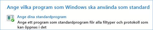 Skärmbild av Ange dina standardprogram