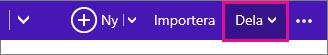 Outlook.com - klicka på dela för att välja en kalender