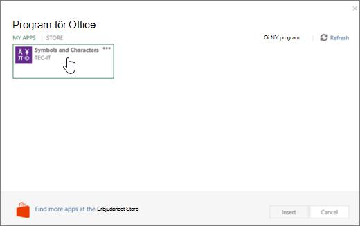 Skärmbild som visar fliken Mina program på sidan program för Office.